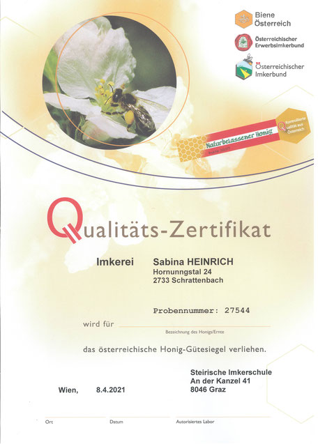 Imkerei HEINRICH - Qualitätszertifikat