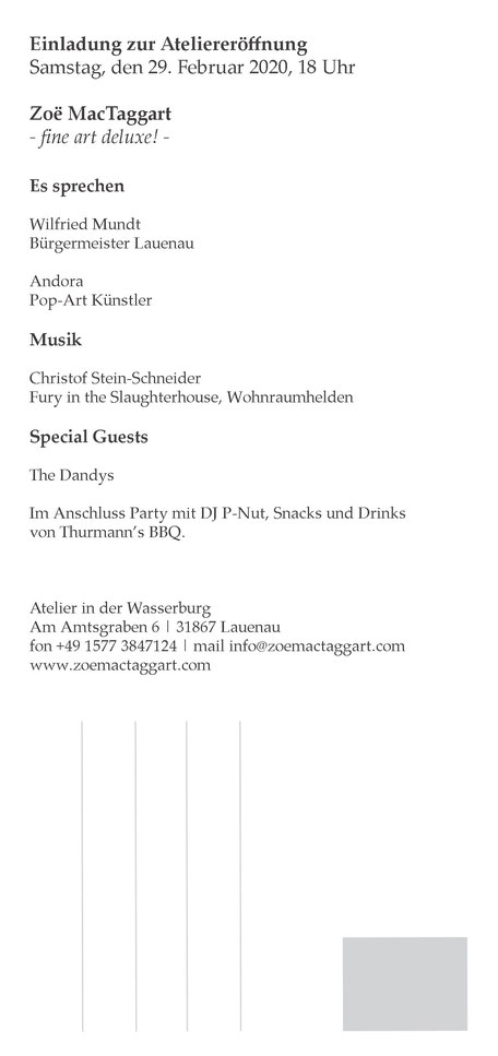 Programm Ateliereröffnung Zoë MacTaggart im Wasserschloss Lauenau am 29. Februar 2020