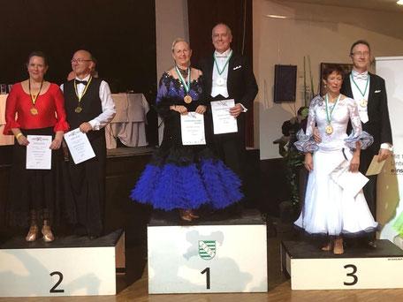 Siegerehrung Ullrich und Monika Schimpf, SEN III B, Landesmeisterschaft Sachsen 2020