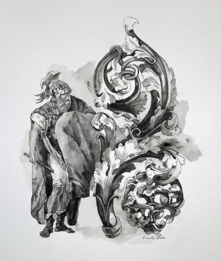 H S Dessin N° 2 - Graphite aquarelle/papier - 26 x 21