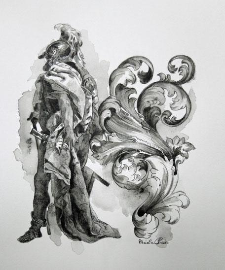 H S Dessin N° 1 - Graphite aquarelle/papier - 25 x 20