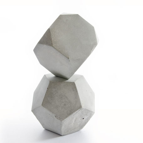 Geometric Concrete, dodecahedron and truncated hexahedron, set of two by PASiNGA