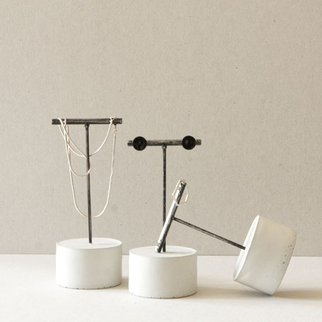 Concrete Cylinder Brushed Silver Black T-Bar Earring Stands By PASiNGA