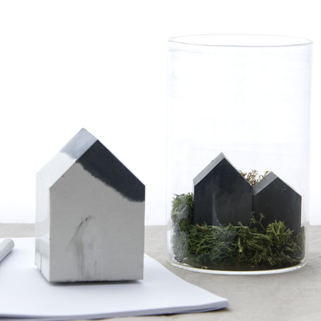 Abstract Concrete House Paperweight Sculpture By PASiNGA Art