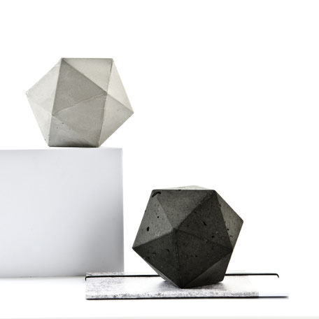 Concrete Paperweight Icosahedron Sculpture Solid by PASiNGA