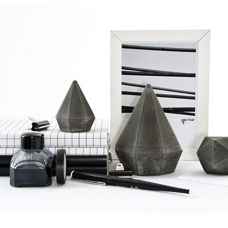 Dark Tall Concrete Diamond Bookend Or Paperweight Sculptures by PASiNGA