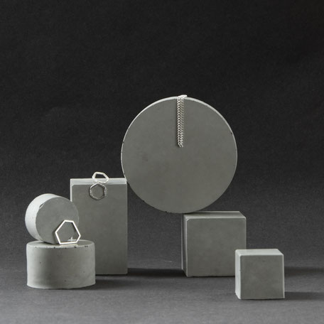 Geometric Concrete Prism Retail Display Set of 6 by PASiNGA Art