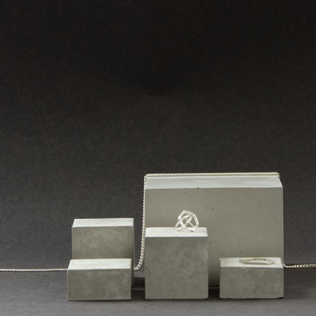 Concrete Cube Display Mix of 5 Used To Display Jewellery By PASiNGA design and photography