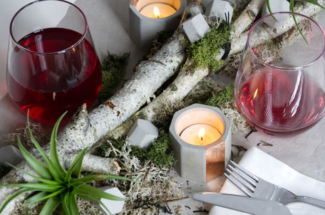 Late Summer Table Decor Diy,  Party Centrepieces With Air Plants & Geometric Concrete