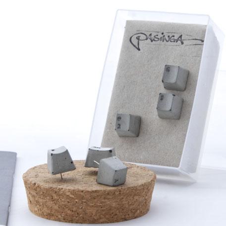 Set of six Concrete Keyboard Key Push Pins by PASiNGA