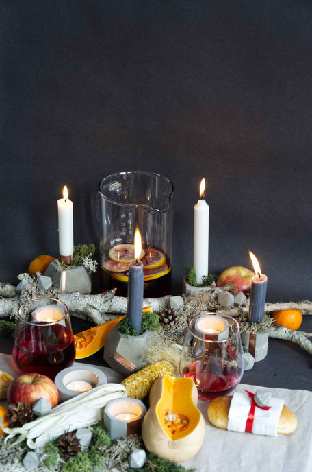 Thanksgiving or Autumn Feast Centrepiece Inspiration, A tables cape design with concrete copper accents, Reindeer moss, pumpkin and friends