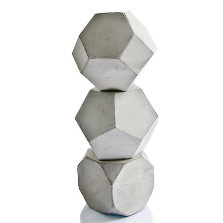 Geometric Concrete Sculptures, Maxi Cube Set of three by PASiNGA