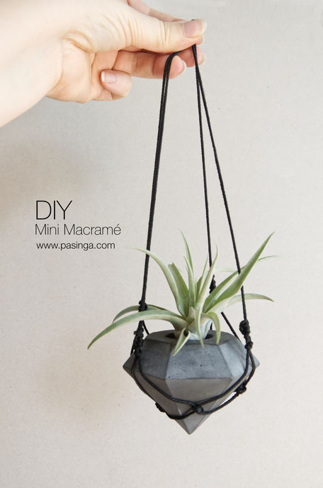 DIY Macramé hanger for PASiNGA geometric concrete air plant holder