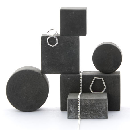 Geometric Dark Concrete Still/ Jewellery Photo Prop Set of 6, No32 by PASiNGA