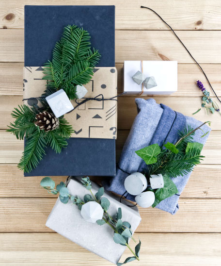 Christmas gift wrapping with geometric concrete