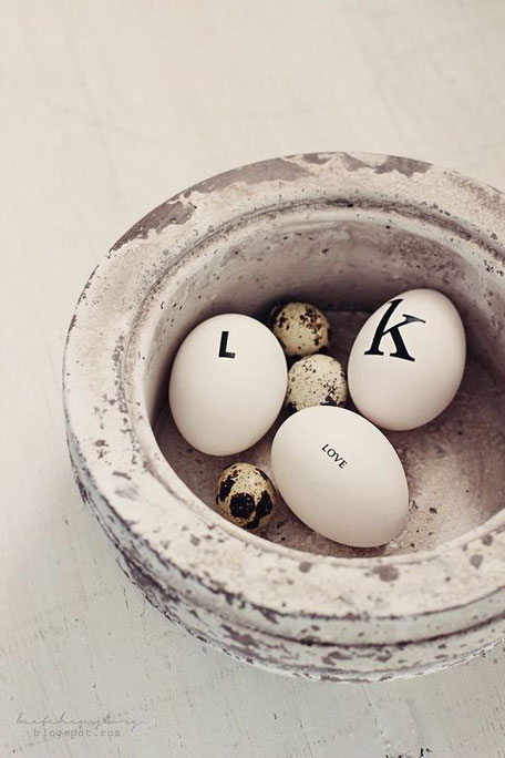 Letters and words as Easter egg decor image via Pinterest