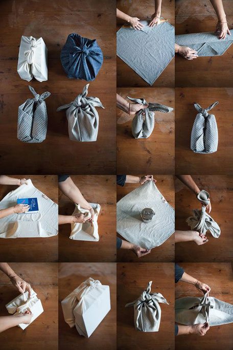 Furoshiki Wrapping Instruction via Half Hitched Goods