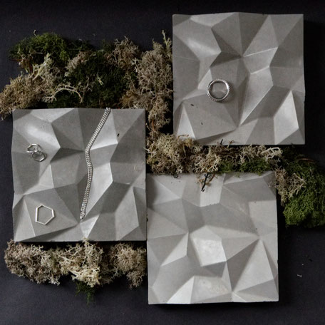 Geometric Concrete Mountain Tile By PASiNGA Design,  utilised as jewellery display