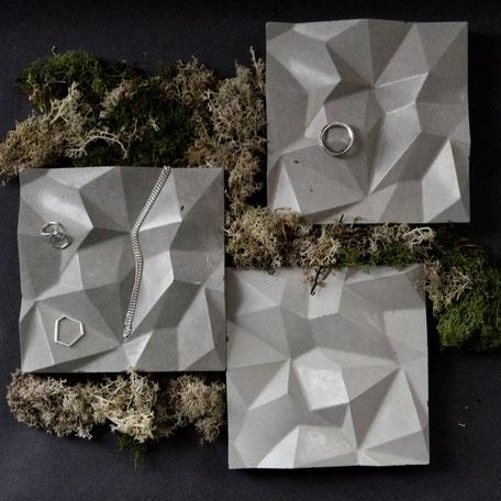 Geometric Concrete Mountain Tile By PASiNGA Design,  utilised as jewellery display
