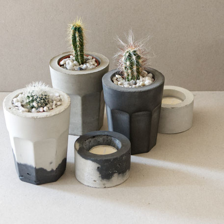 Concrete coffee glass cactus planter kit by PASiNGA and how to plant it