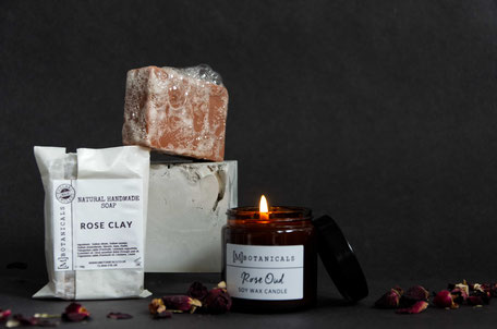 Styled product photography by PASiNGA with concrete cube prop for MBotanicals