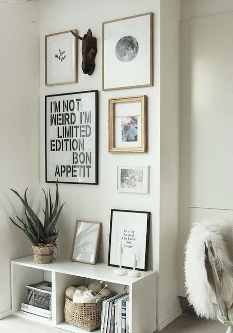 Scandinavian inspired art wall, image via myscandinavianhome