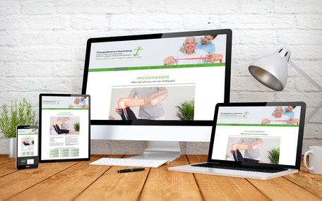 Internetseiten des TherapieZentrum Kranenburg auf unterschiedlichen Endgeräten.