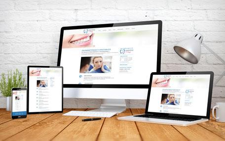 Internetseiten der Zahnarztpraxis Christian Eis auf unterschiedlichen Endgeräten.