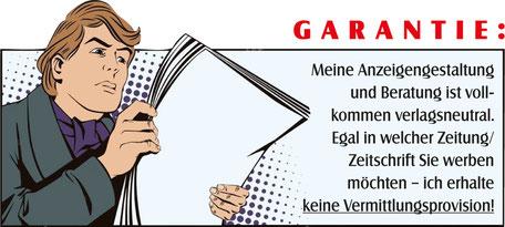 Comic Zeichnung von Mann der Garantie bei Anzeigengestaltung liest.