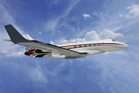 Industrie- und Werbefotografie, Challenger, Jet im Flug