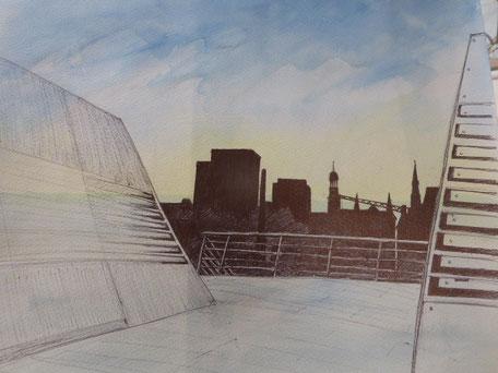 Zeichnung Dockland von Astrid Brüggmann
