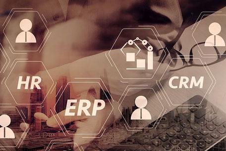 Darstellung SQL Anwendung: ERP, CRM, Maschinenanbindung, Kunden, Lieferanten