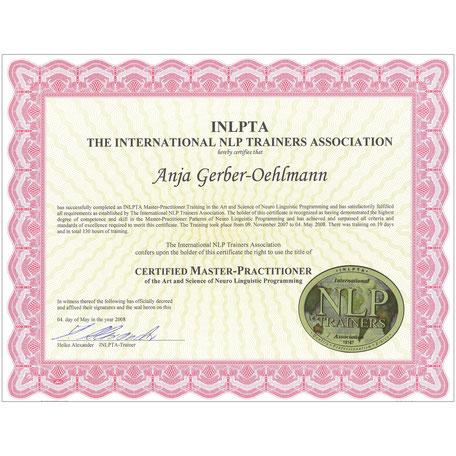INLPTA NLP Master-Practitioner Zertifikat 2008, Anja Gerber-Oehlmann, GO Ahead Consulting, Krisencoach, Verhandlungsexpertin