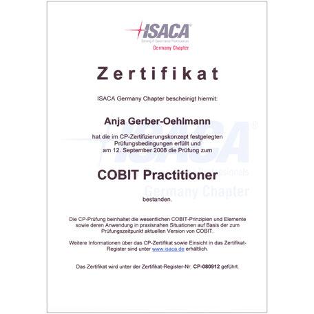 COBIT Practitioner Zertifikat 2008, Anja Gerber-Oehlmann, GO Ahead Consulting, Krisencoach, Verhandlungsexpertin