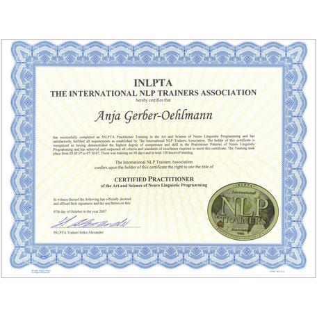 INLPTA NLP Practitioner Zertifikat 2007, Anja Gerber-Oehlmann, GO Ahead Consulting, Krisencoach, Verhandlungsexpertin