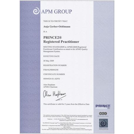 PRINCE2 Zertifikat 2009, Anja Gerber-Oehlmann, GO Ahead Consulting, Krisencoach, Verhandlungsexpertin