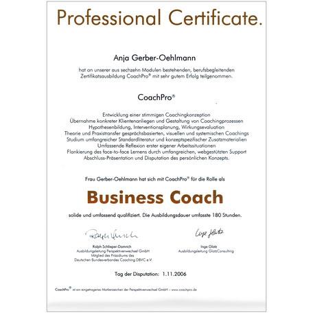 Business-CoachPro Zertifikat 2006, Anja Gerber-Oehlmann, GO Ahead Consulting, Krisencoach, Verhandlungsexpertin