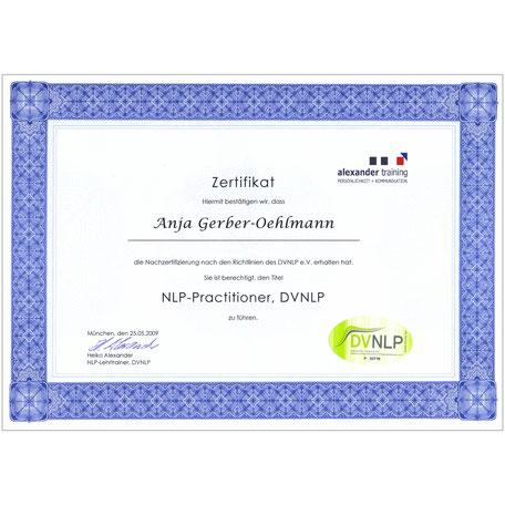 DVNLP Master Zertifikat 2009, Anja Gerber-Oehlmann, GO Ahead Consulting, Krisencoach, Verhandlungsexpertin