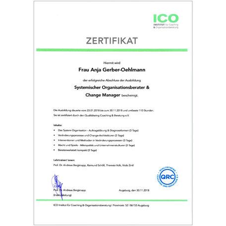 ICO Institut Zertifikat 2018, Anja Gerber-Oehlmann, GO Ahead Consulting, Krisencoach, Verhandlungsexpertin