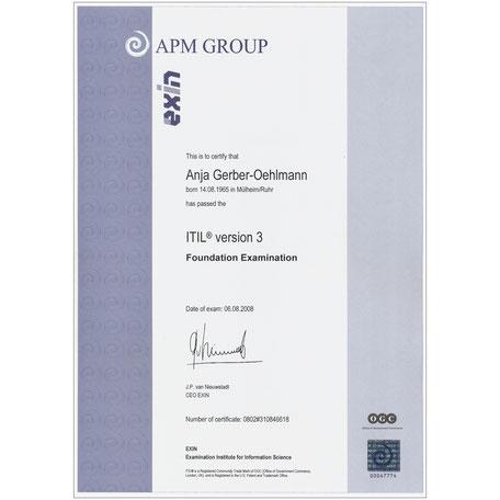ITIL Ver. 3 Zertifikat 2008, Anja Gerber-Oehlmann, GO Ahead Consulting, Krisencoach, Verhandlungsexpertin