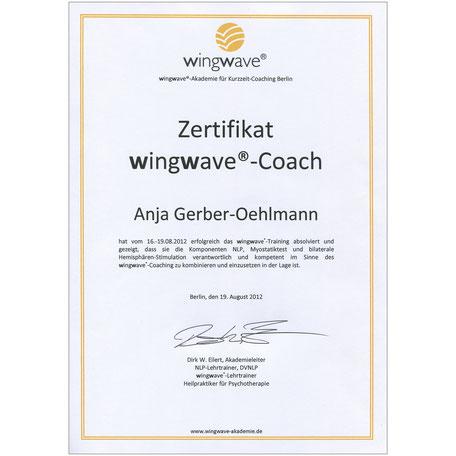 WingWave Coach Zertifikat 2012, Anja Gerber-Oehlmann, GO Ahead Consulting, Krisencoach, Verhandlungsexpertin