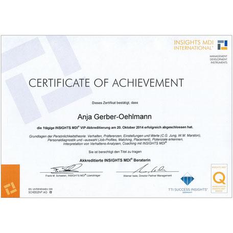 INSIGHTS MDI Zertifikat 2014, Anja Gerber-Oehlmann, GO Ahead Consulting, Krisencoach, Verhandlungsexpertin