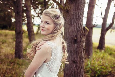 Brautkleid Zweiteiler aus Baumwolle mit Spitzentop und Tüllrock