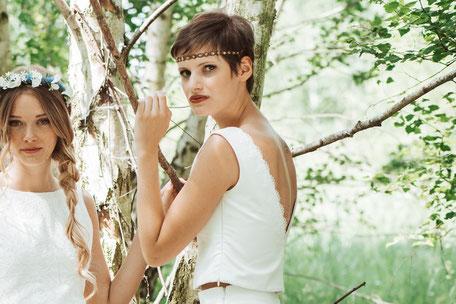 """zweiteilige Brautkleider: schlichtes Brauttop """"Nami"""" mit weitem Brautrock """"Ima"""""""
