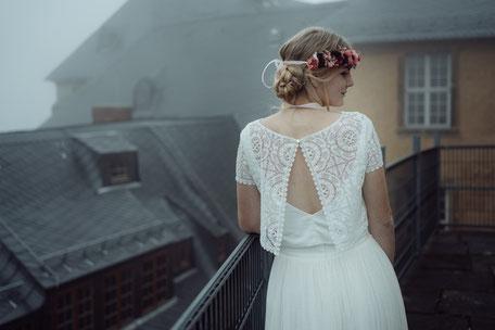 """Brautkleid Zweiteiler, Spitzentop """"Nori"""" mit Tüllrock """"Nami"""" - zweiteiliges Brautkleid im Hippie Look"""