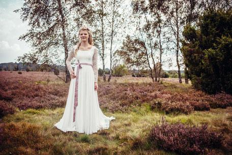 Vintage Brautkleid  mit Ärmel aus Spitze