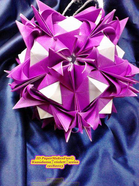 Kusudama - violett - weiss