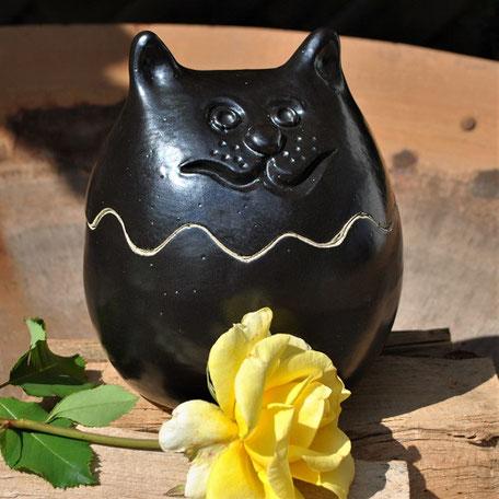 Keramikdose, Katze, Schwarz