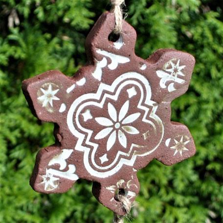 Meisenknödelhalter Schneeflocke Keramik