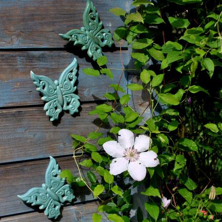 Wanddeko Schmetterlinge aus Keramik